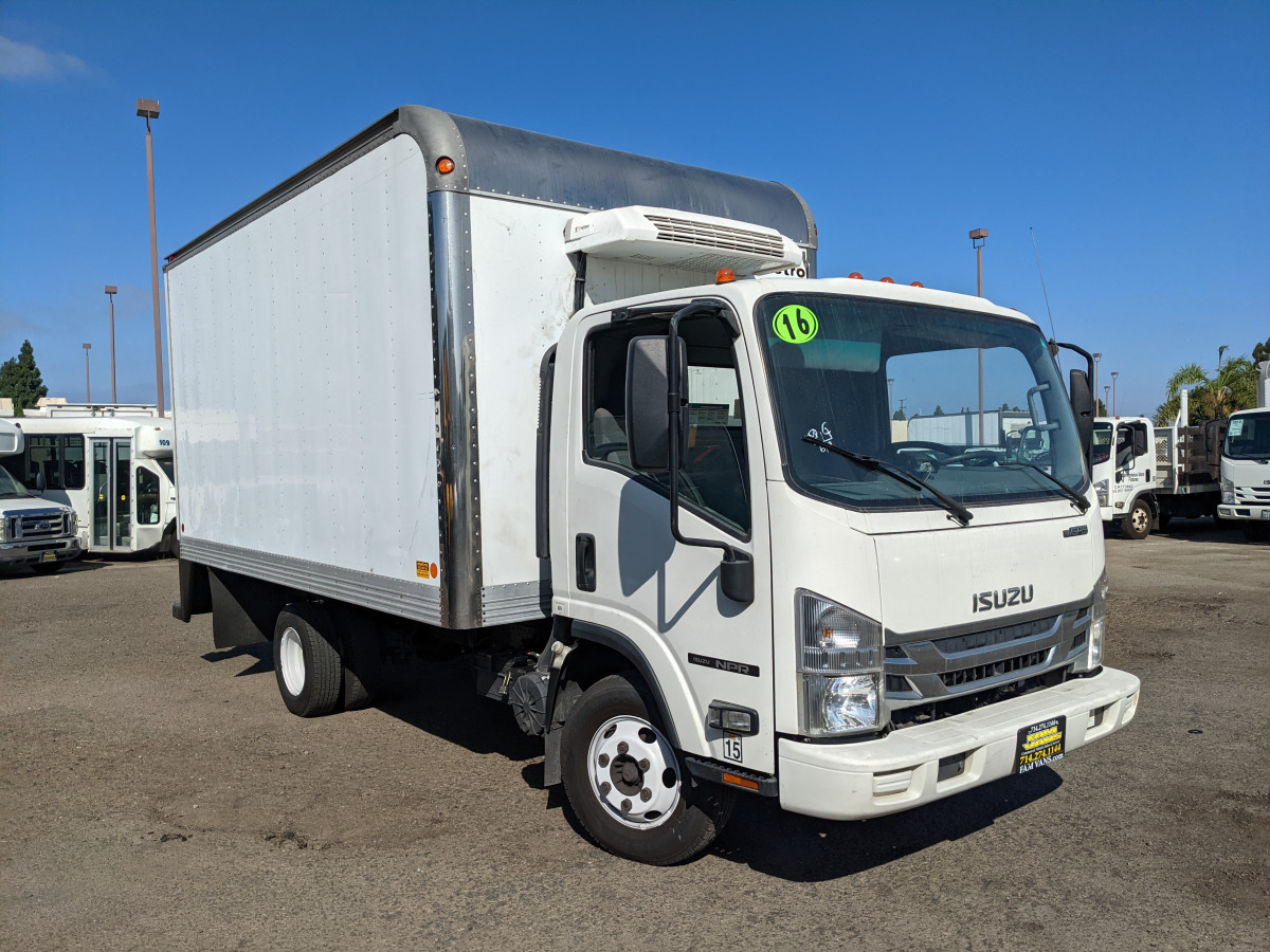 Used 2016 Isuzu NPR 14FT Refrigeration Reefer Box Truck with Loading Ramp in Fountain Valley, CA