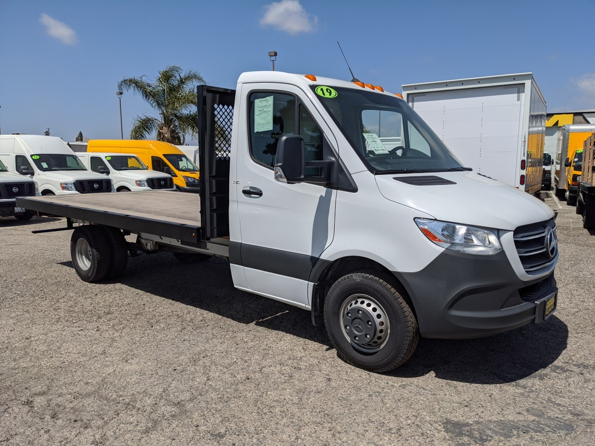 Used 2019 Mercedes-Benz Sprinter 3500 14FT Flat Bed Truck DIESEL in Fountain Valley, CA