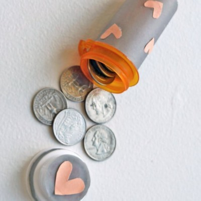 Store loose change in a pill bottle